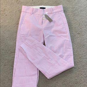 J.Crew Cameron Slim Crop Pant in Pink/White Stripe
